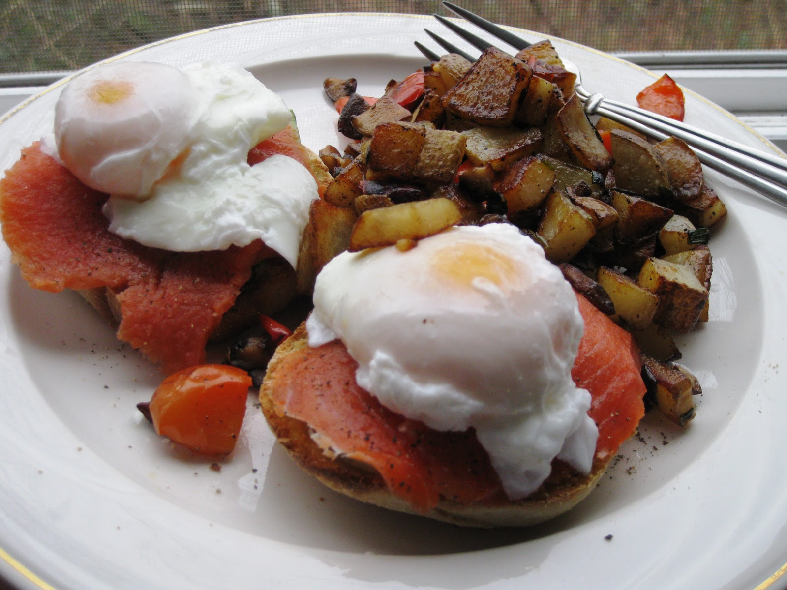 Breakfast for 2 – Poached Eggs over English Muffins and Potato Hash ...