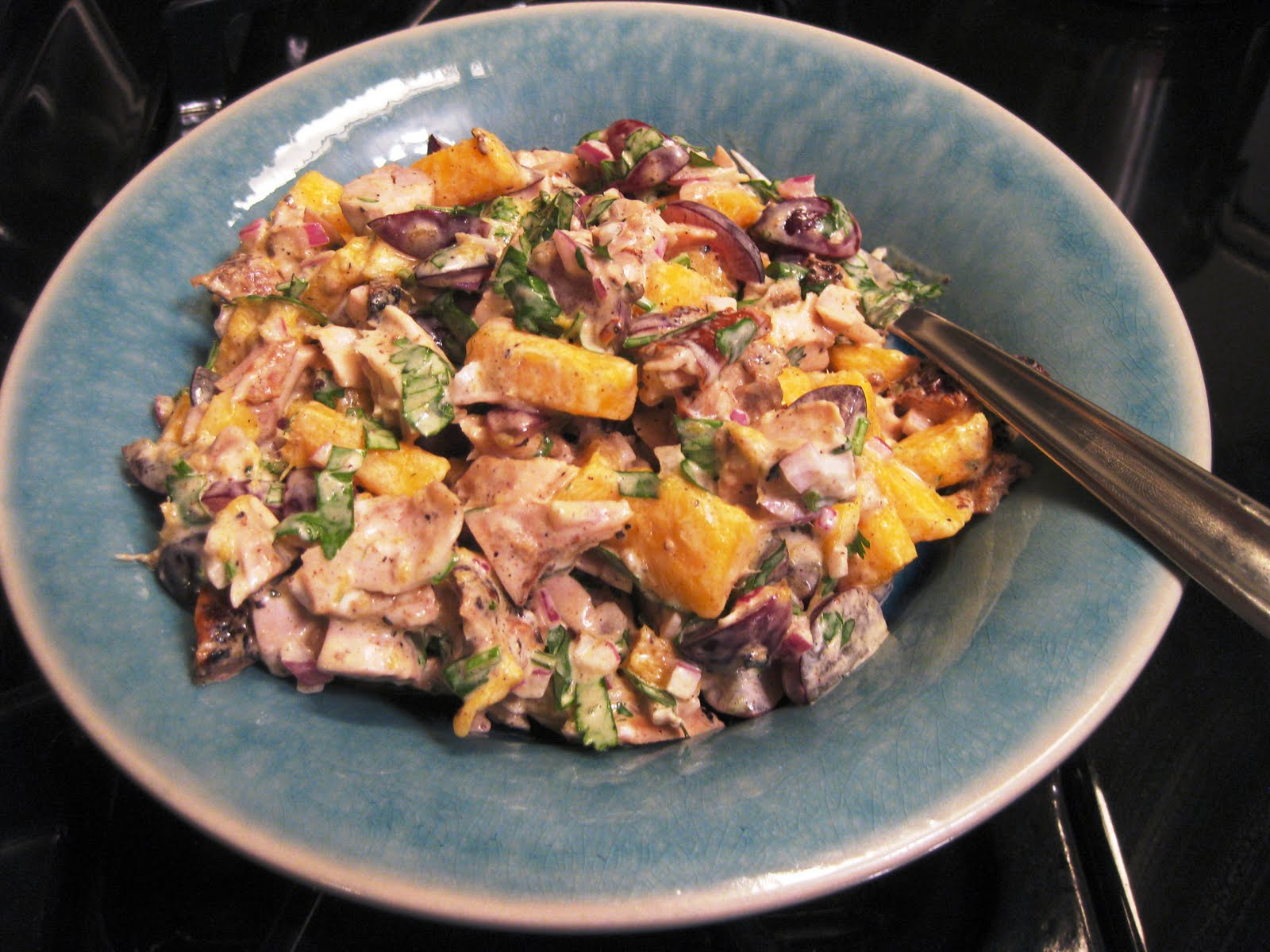 Recipe For A Jamaican Jerk Chicken Salad With Mango And Grapes Snacking In The Kitchen