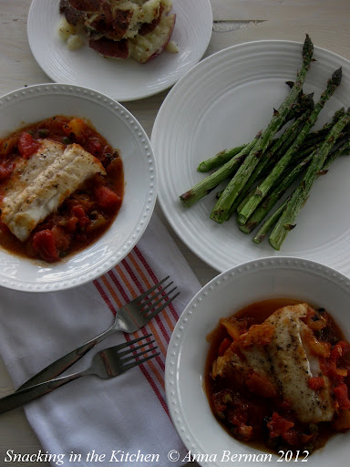 Pan Seared Halibut, Braised in Diced Tomatoes with Capers ...
