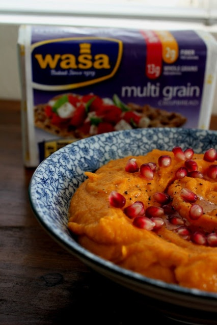 Roasted Butternut Squash Hummus with Pomegranate Seeds and Wasa Crispbread   Snacking in the Kitchen
