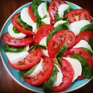 Caprese Salad ~ Tomatoes, Mozzarella Cheese, Homegrown Basil ...