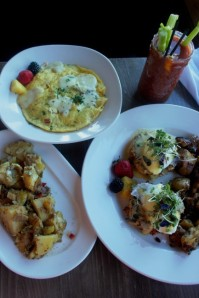 Crab Cake Benedict and Frittata